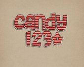 Striped Candy Alpha - Digital Scrapbooking Alphabet  INSTANT DOWNLOAD