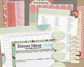 Menu Planning, Kitchen Organizer & Grocery List Printables (Kitschy Organized)  INSTANT DOWNLOAD