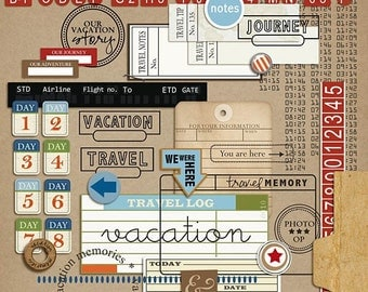 Travel Mixed Media - Digital Scrapbooking Elements for Vacation  INSTANT DOWNLOAD