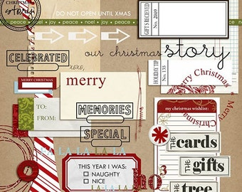 Holiday Mixed Media for Digital Scrapbooking Christmas INSTANT DOWNLOAD