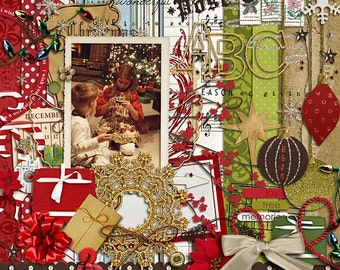 Season of Giving Digital Scrapbooking kit for Holiday, Christmas INSTANT DOWNLOAD