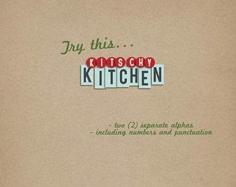 Kitschy Kitchen Alphas Digital Scrapbooking alpha Kitschy, vintage INSTANT DOWNLOAD