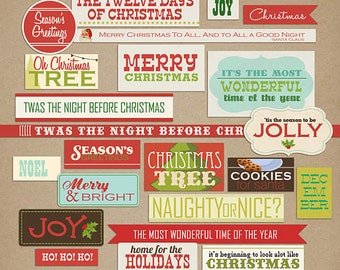 Kitschy Christmas: Word Art Blocks Digital Scrapbooking Elements INSTANT DOWNLOAD