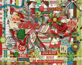 Kitschy Christmas - Digital Scrapbooking Kit  INSTANT DOWNLOAD