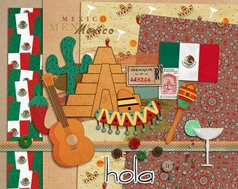 Taste of Mexico - Digital Scrapbooking kit for travel, Cinco de Mayo, World Showcase, Disney INSTANT DOWNLOAD