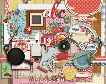 Kitschy Kitchen - Digital Scrapbooking kit  INSTANT DOWNLOAD