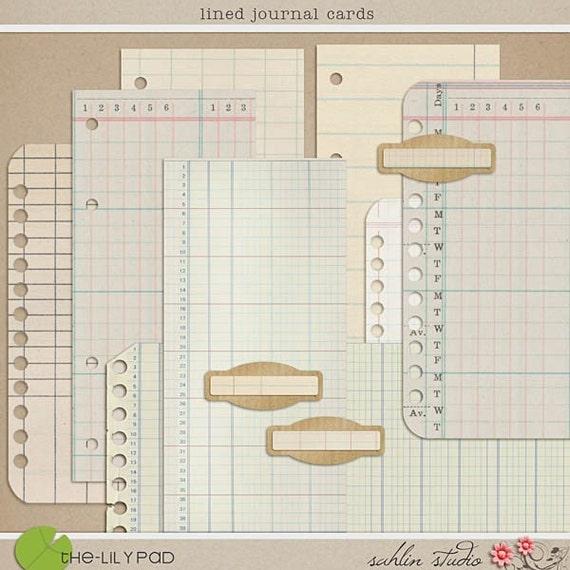 Lined Journal Cards Digital Scrapbooking papers for journaling, vintage, ephemera, cards, crafts, collage sheet