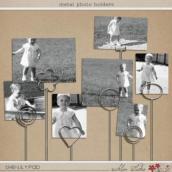 Metal Photo Holders - Digital Scrapbooking Elements INSTANT DOWNLOAD