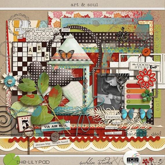 Art & Soul - Digital Scrapbooking kit for art, children, crafts, artistic INSTANT DOWNLOAD