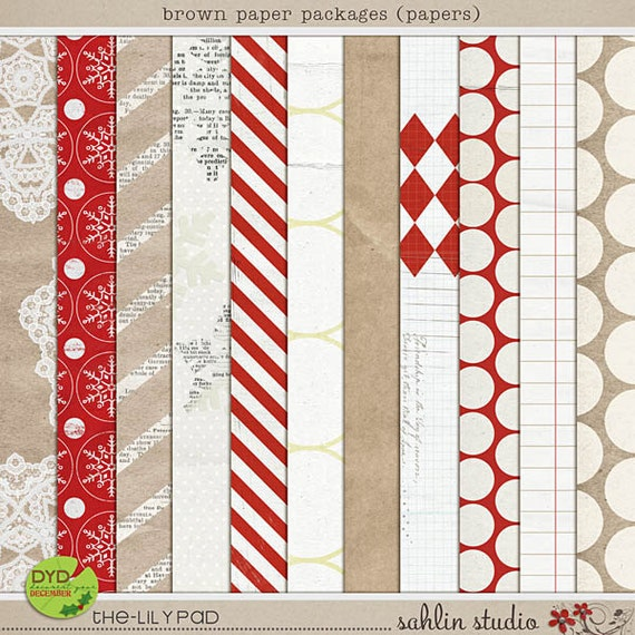 Brown Paper Packages - Digital Scrapbooking Papers for Christmas, Holiday INSTANT DOWNLOAD