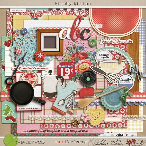 Kitschy Kitchen Digital Scrapbooking Kit INSTANT DOWNLOAD