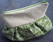 Pleated Clutch/Pouch -- Green Leaves