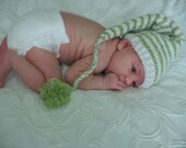 Elf, Pixie, Gnome Hand Knit Photo Prop Hat in Snowflake Limelight and Antique White, Size Newborn, Cute Baby Gift