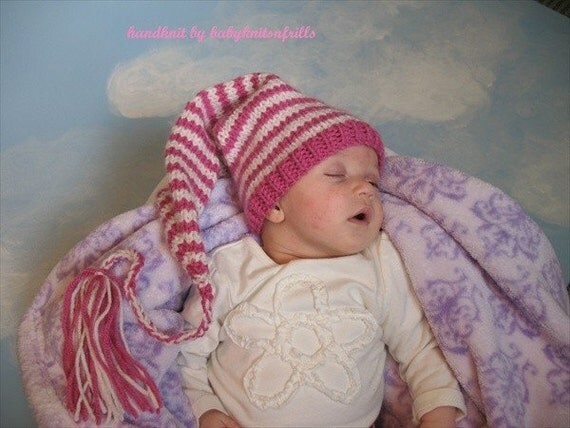 Newborn Baby Girl Striped Elf, Pixie, Munchin, Gnome Handknitted Hat in Pizazz Pink and Antique White, Cute Baby Shower Gift or Photo Prop