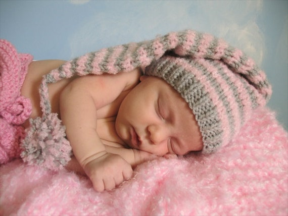 Newborn Striped Elf, Pixie Hat in Misty Gray and Rose Pink with Crochet Tassel and Pom Pom, Cute Baby Gift or Photo Prop