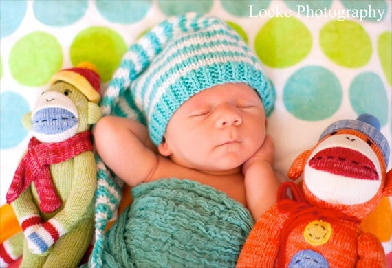 Elf, Pixie, Munchin, Gnome Handknitted Hat in Turquoise and Stark White Stripes, Size Newborn, Cute Baby Gift or Photo Prop