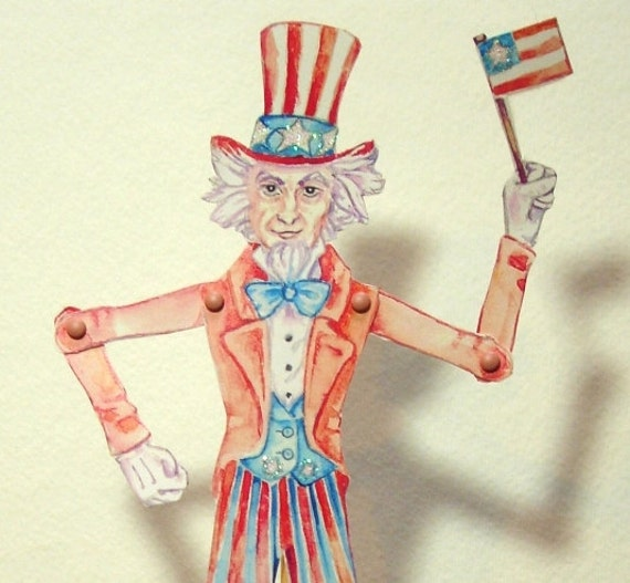 Uncle Sam Jointed Paper Puppet