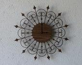 Mid Century Modern Inspired Clock-Wrought Iron