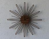 Mid Century Modern Inspired Starbust // Sunburst Walnut Wall Clock