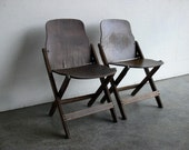 Wood Folding Theater Chairs (Set of 2)