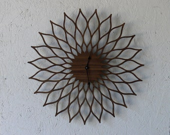 Mid Century Modern Inspired Lotus // Sunflower Clock