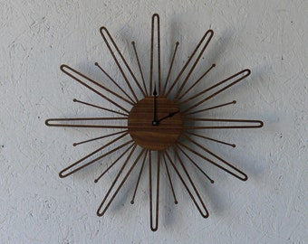 Mid Century Modern Inspired Starbust // Sunburst Walnut Wall Clock