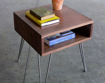 Mid Century Modern Inspired Walnut Box Joint Side Table w/ Hairpin Legs