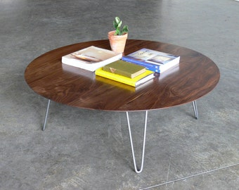 Mid Century Modern Eames Inspired Round Walnut Coffee Table w/ Hairpin Legs
