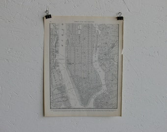 Vintage Map-City of New York (Lower Manhattan)-Early 20th Century