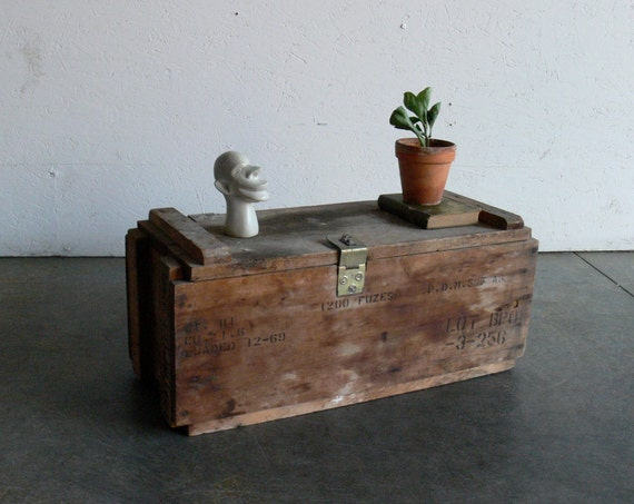 Vintage Wooden Military Ammunition Crate
