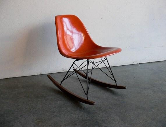 RESERVED Eames for Herman Miller Fiberglass Side Chair Rocker