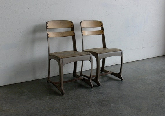RESERVED Vintage Children School Chairs (Set of 2)