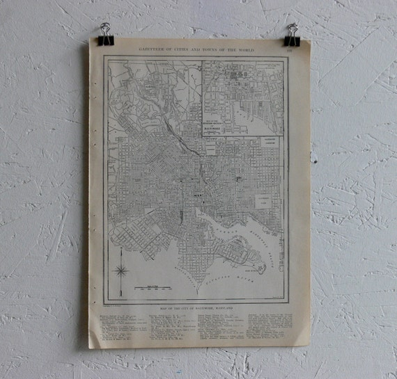 Vintage Map-City of Baltimore-Early 20th Century
