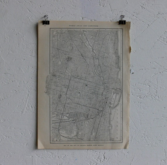 RESERVED-Vintage Map-City of Chicago-Early 20th Century