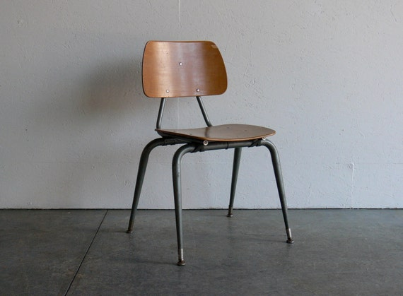 Vintage Industrial/Mid Century Modern Plywood Side Chair