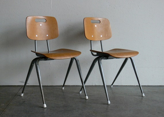 Vintage Industrial/Mid Century Modern Plywood Side Chairs (Set of 2, Adult Sized)
