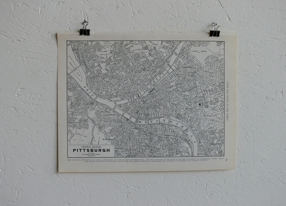 Vintage Map-City of Pittsburgh-Early 20th Century