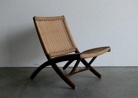 Vintage Danish Hans Wegner Style Rope Folding Chair