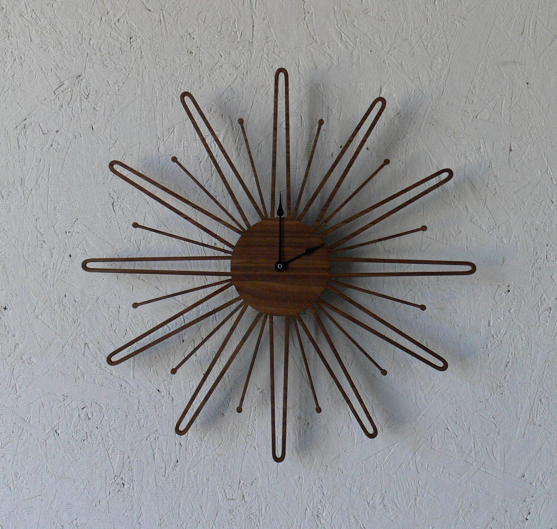 Mid Century Modern Inspired Starbust Sunburst Walnut Wall Sunflower Clock
