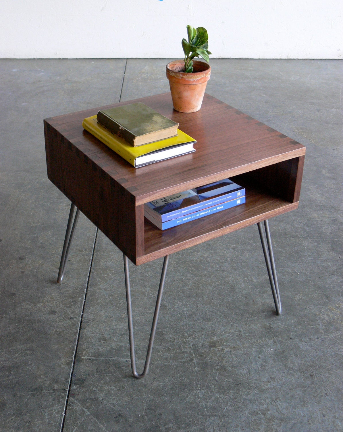 Mid Century Modern Inspired Walnut Box Joint Side Table W