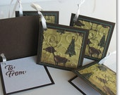 Christmas Gift Tags: Five Pack Set / Flip Open Handmade Gift Tags - Peek-A-Boo Caribou