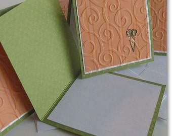 Miniature Easter Note Cards:  5 Pack Set / Handmade & Blank - Carrot Cheese Cake