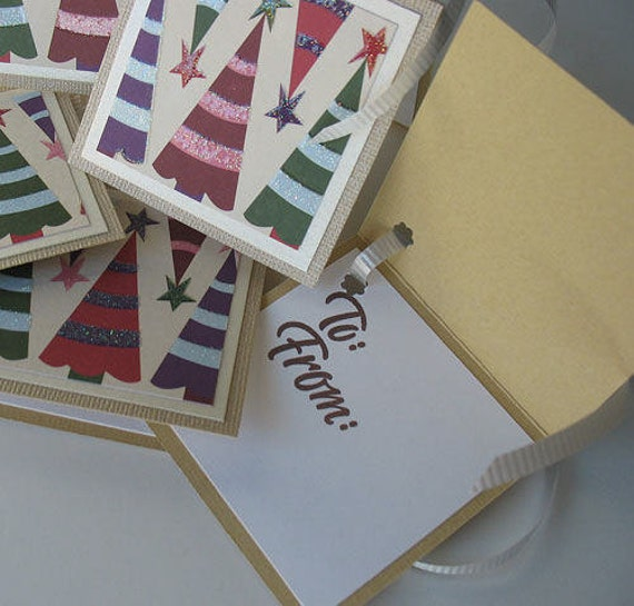 Christmas Gift Tags: Five Pack Set / Flip Open Handmade Gift Tags - Trim the Tree