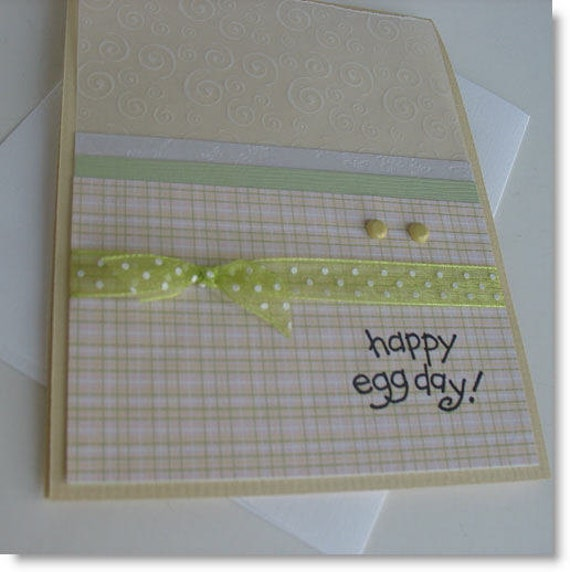 CLEARANCE Easter Greeting Card: Handmade Blank Note Card (Batch No.2) - Happy Egg Day