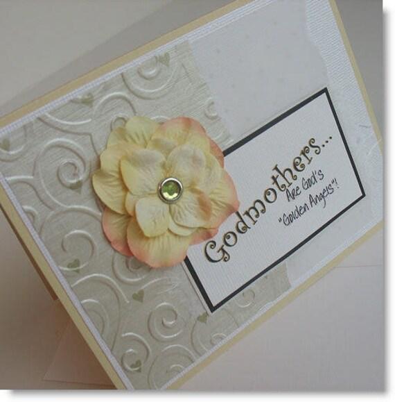 Godmother Card: Godmother (Mother's Day...Batch No. 3) / Blank & Handmade - Golden Angels