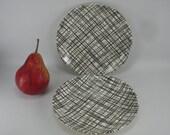 2 Salad Bread Plates Vintage Black Weave Cross Hatch Pattern