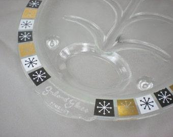 Inland Glass 1950s Atomic Starburst Snowflake Meat Platter