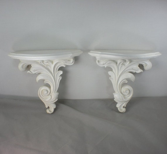 syroco shabby chic cottage white bracket wall shelves. Black Bedroom Furniture Sets. Home Design Ideas