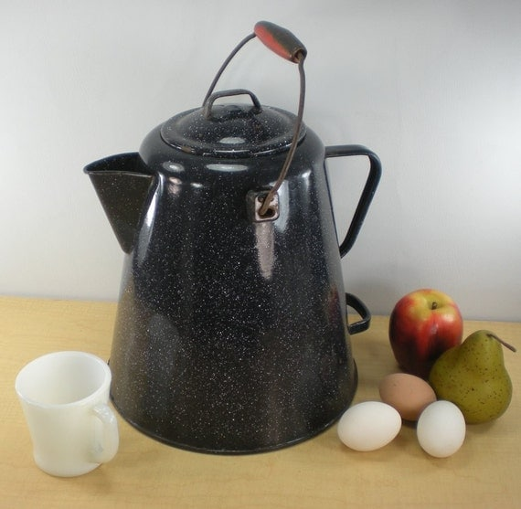 Enamelware Large Coffee Pot Blue Black Speckled By