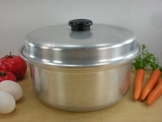Kitchen craft vintage aluminum dutch oven roaster pot lid 4 qt for Kitchen craft cookware prices